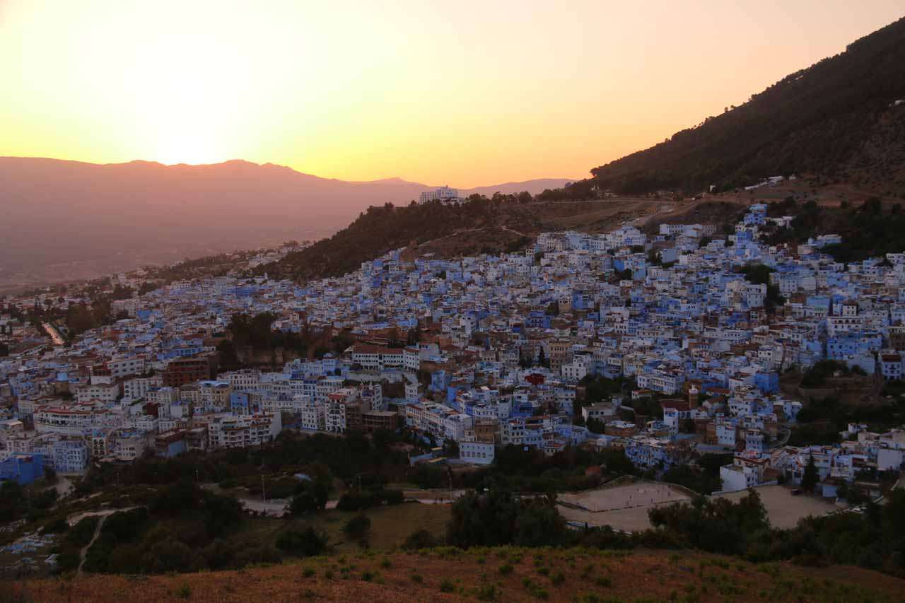 Sunset over the beautiful medina of Chefchaouen