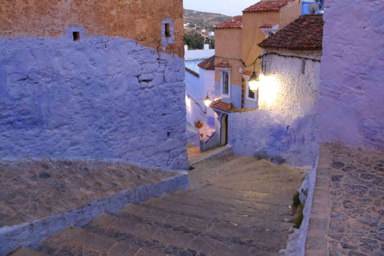 Getting lost in Chefchaouen as the night was coming on