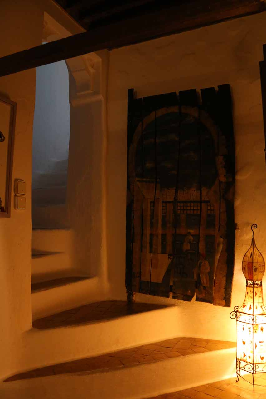 Atmospheric lighting in the Casa Perleta as it was just about bedtime for us