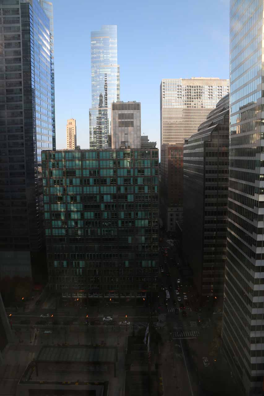 View of downtown Chicago inside the Loop from our 21st floor room in the Hyatt Centric