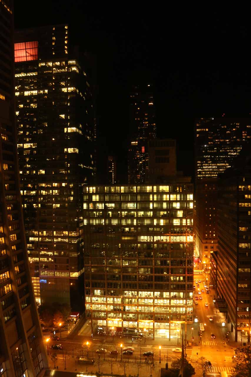 Looking out the window of our 21st floor room in the Hyatt Centric at night