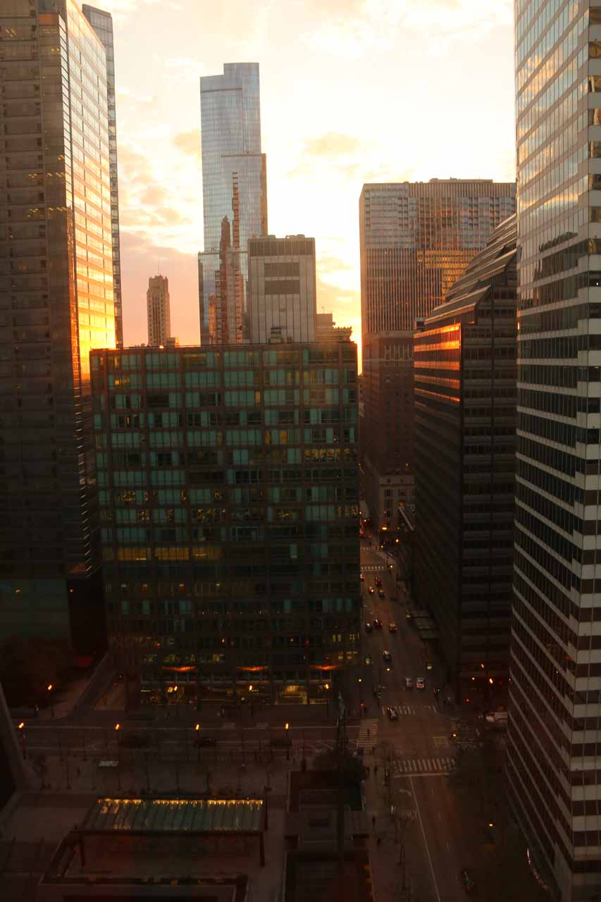 Early morning view out our window at the Hyatt Centric The Loop