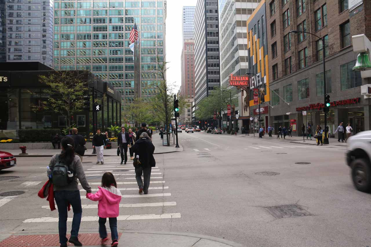 Julie and Tahia walking towards Millenium Park from the Hyatt Centric within the Loop