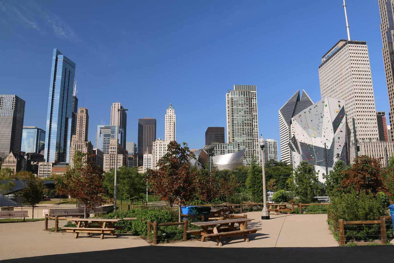 Looking back over some picnic tables backed by skyscrapers from within Maggie C Daley Park