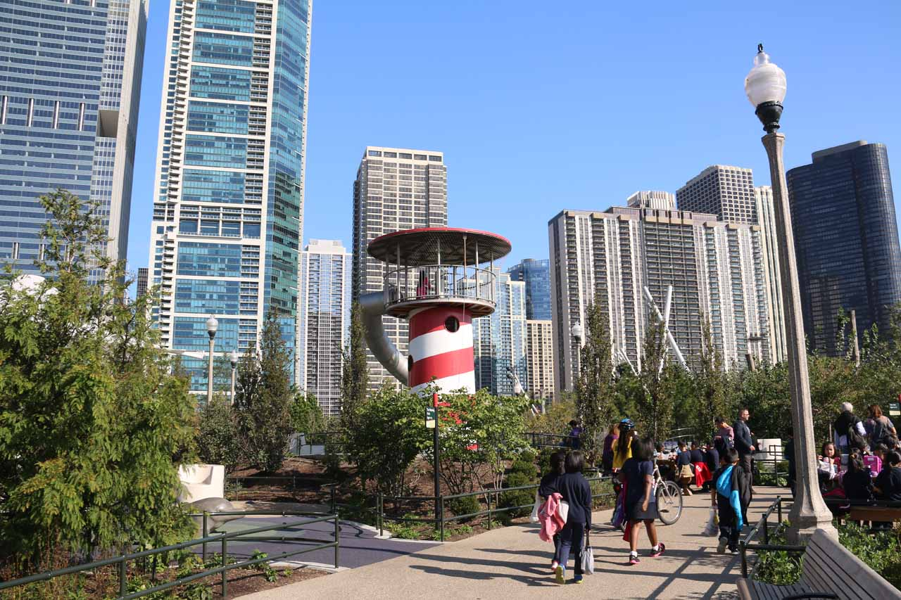 The lighthouse apparatus at the Maggie C Daley Park, which Tahia eagerly went to first