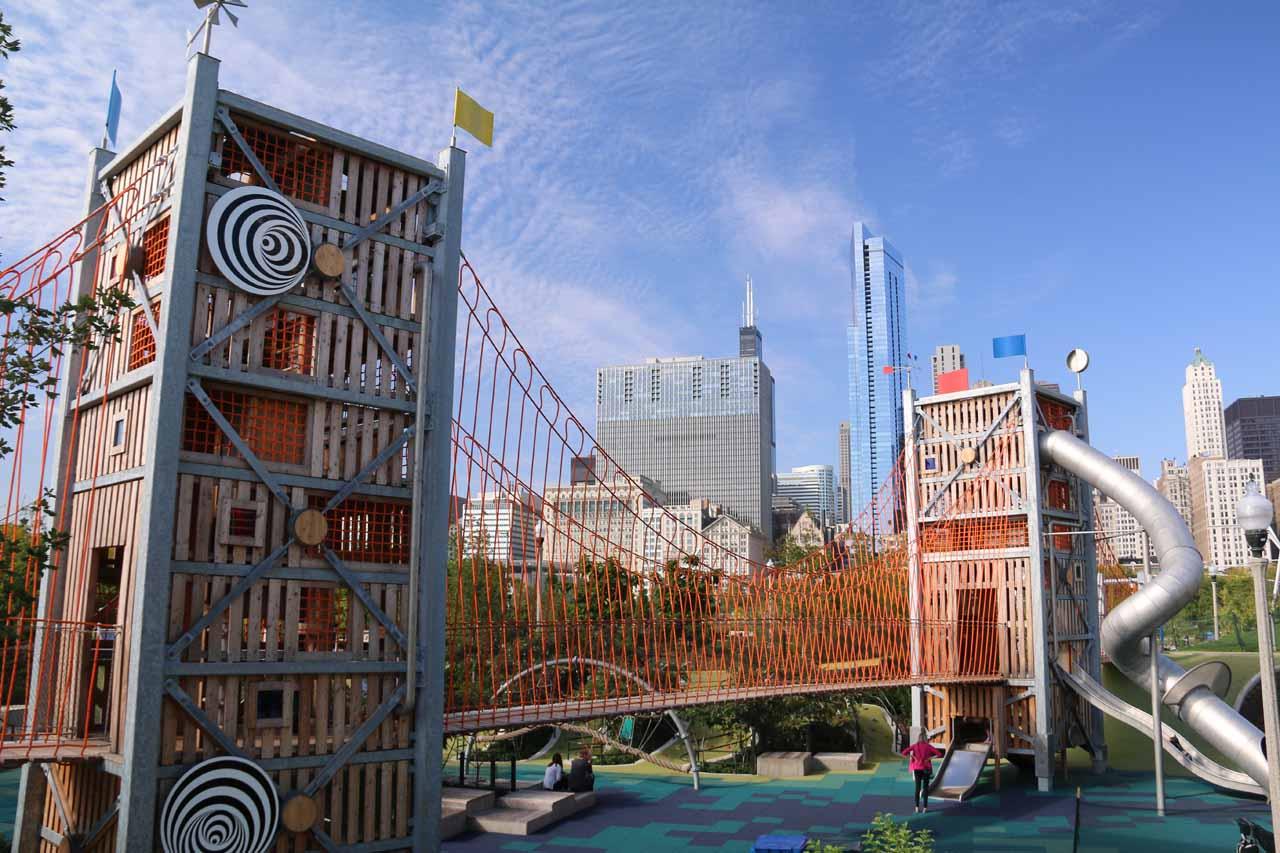 The Brooklyn Bridge-like apparatus that Tahia played in next