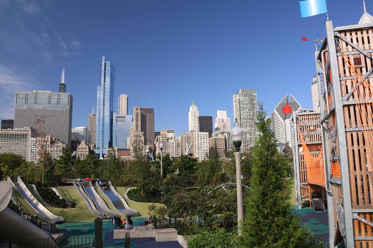 Chicago was also fun for our daughter, especially at the amazing Maggie C Daley Park, where she could enjoy the giant slides and playgrounds for free while I can view the Chicago Skyline