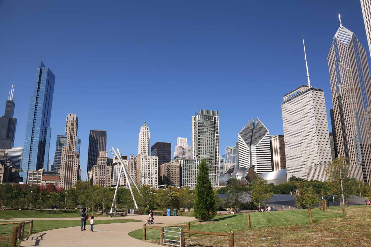 Broad view back towards the Chicago skyline from Maggie C Daley Park