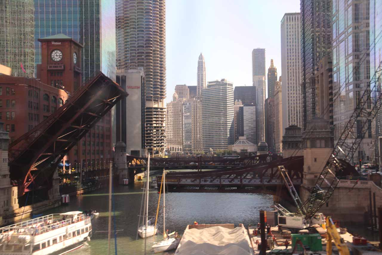 Looking down the Chicago River while riding the L