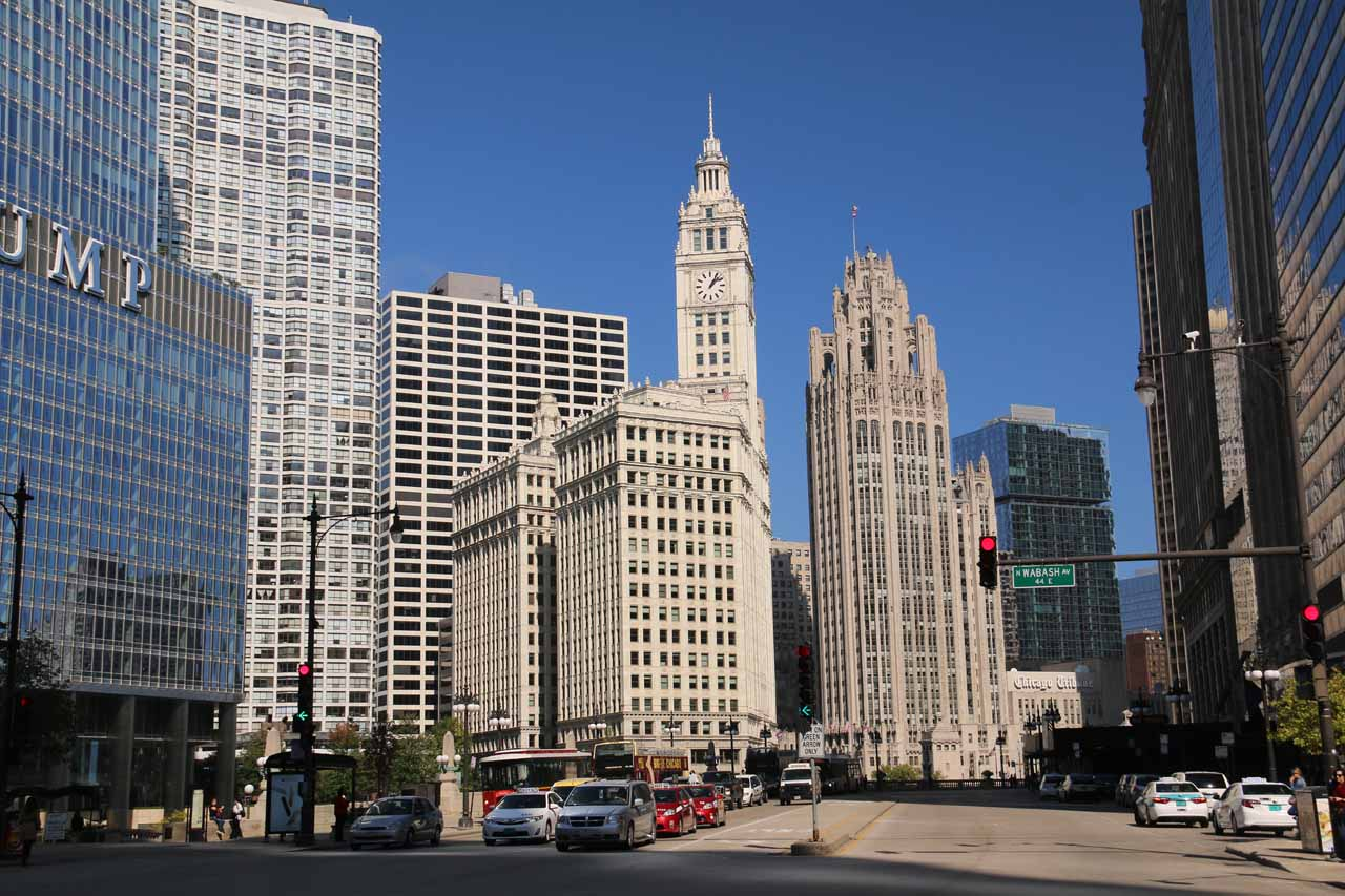 Looking towards some classic buildings belonging to the Chicago Tribune