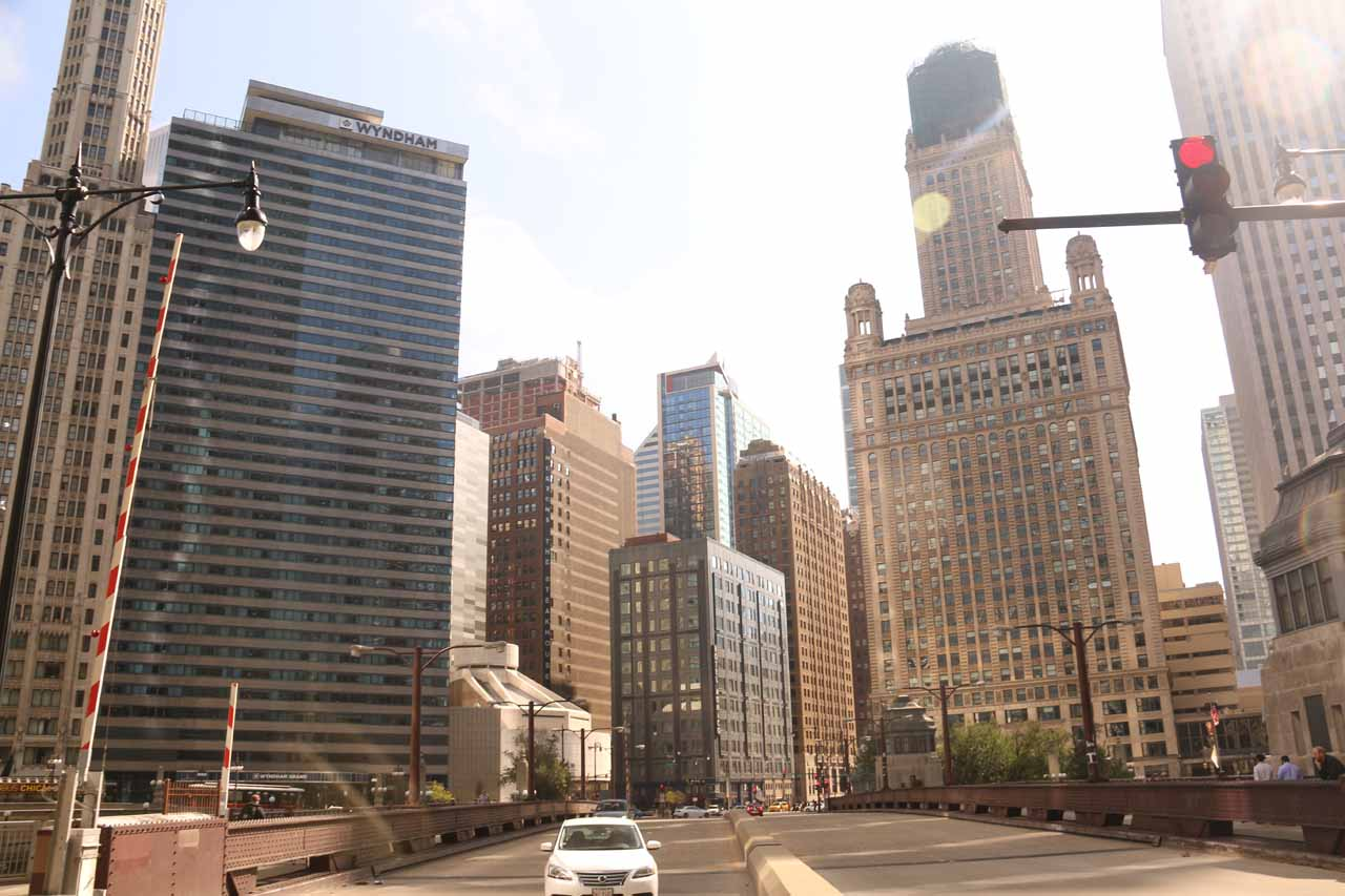 Looking down Michigan Ave from the Chicago River