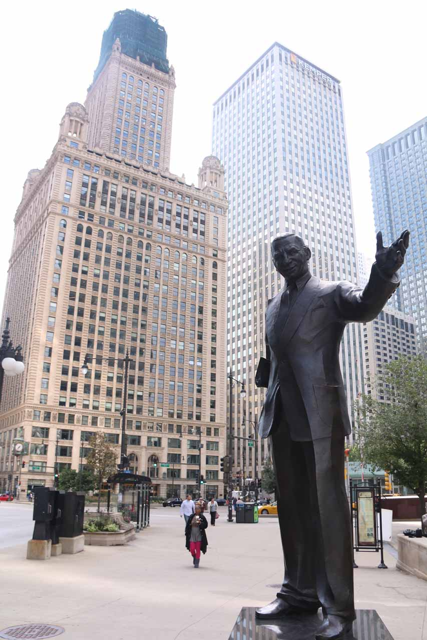 Statue of 'Mr Chicago' as seen while on the Chicago River Walk