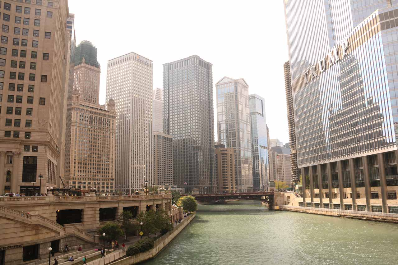 Looking up the Chicago River from the bridge at Michigan Ave