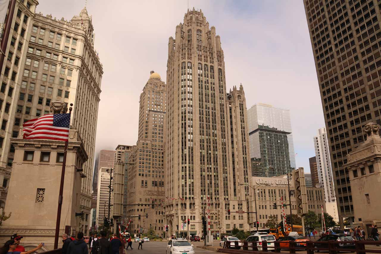 Looking directly at the iconic Chicago Tribune Building