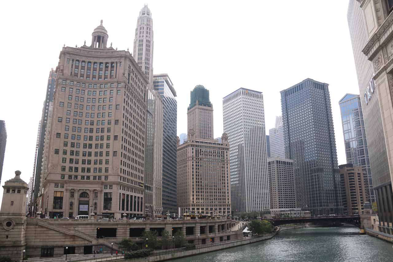 Looking back over the Chicago River from the far side of the bridge along Michigan Ave
