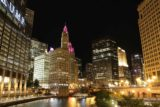 Chicago_499_10072015 - Night time view of the iconic Chicago Tribune building over the Chicago River