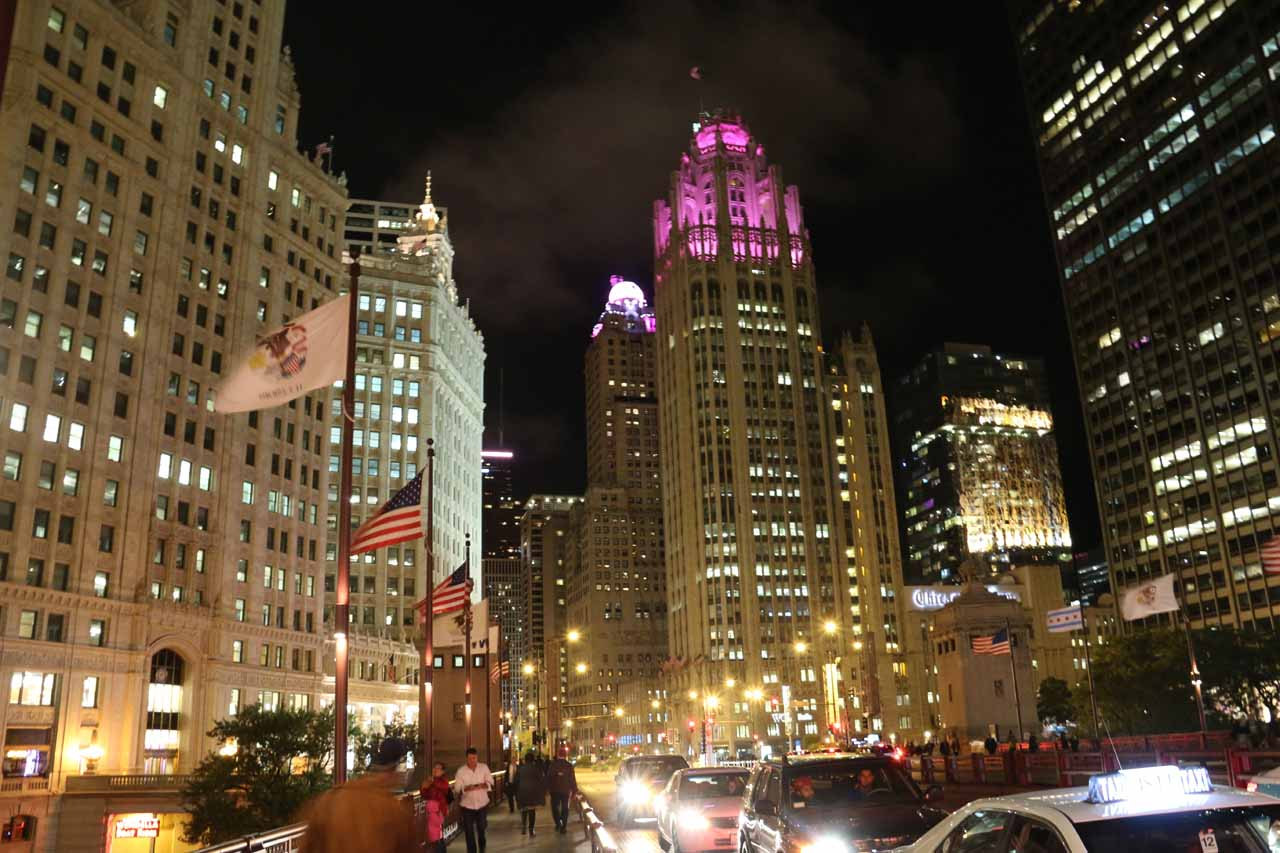 Looking towards the Chicago Tribune building from Michigan Ave