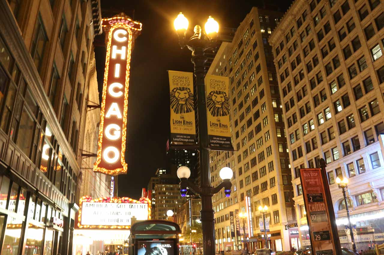 The famous Chicago Theater sign near the State / Lake stop