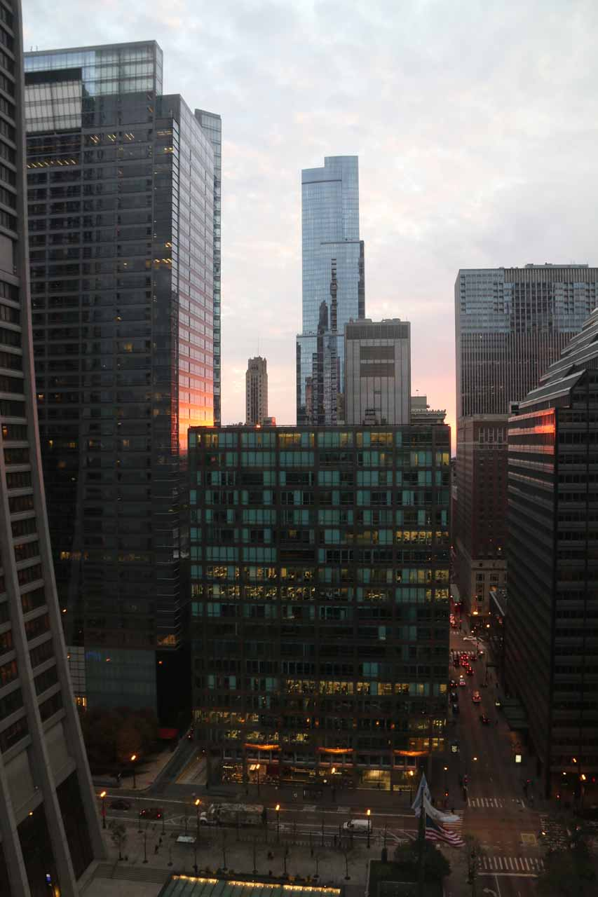 The familiar view outside our window of the 21st floor of the Hyatt Centric The Loop
