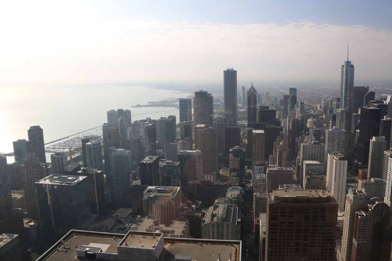Looking south from the John Hancock Tower at 360 towards skyscrapers and the shores of Lake Michigan