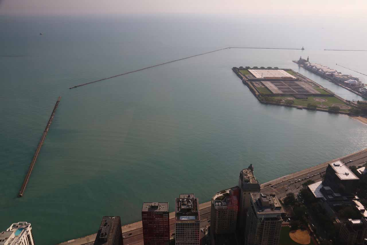 Looking east from 360 towards Lake Michigan where we saw some breaks to protect the urbanized lakeshore of Chicago