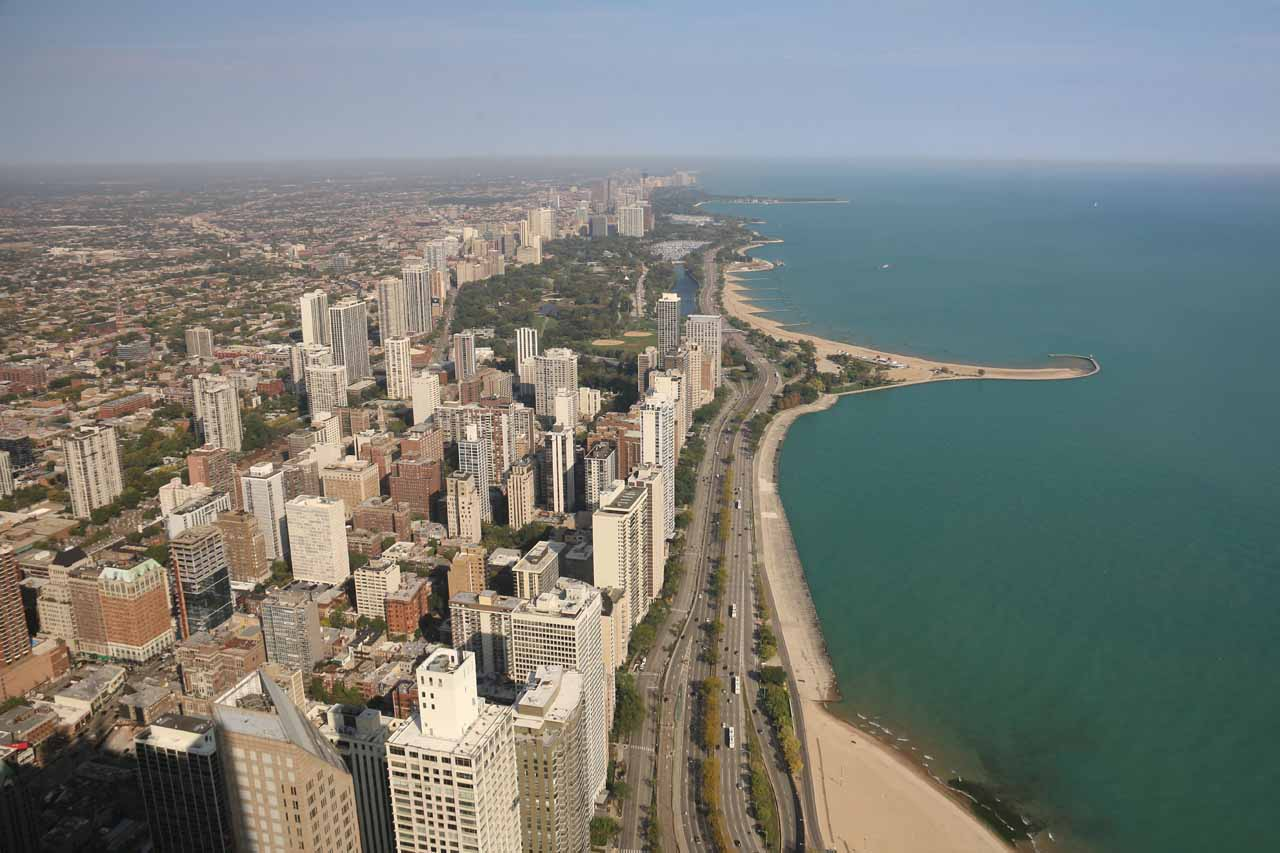 Looking north towards beaches fronting Lake Michigan as well as more urban developments further inland