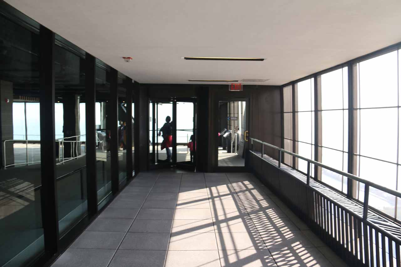 The so-called 'Sky Walk' deck, which was really nothing more than a mesh metal wall letting us listen to the sounds of downtown Chicago from the John Hancock Tower