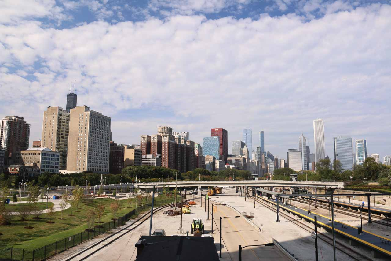 Looking over the Metra Train Tracks towards downtown Chicago