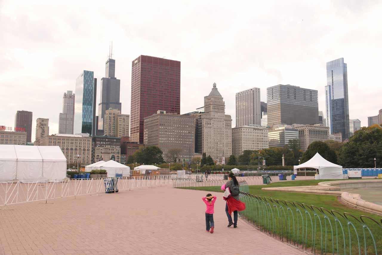 Julie and Tahia walking beyond the Buckingham Fountain