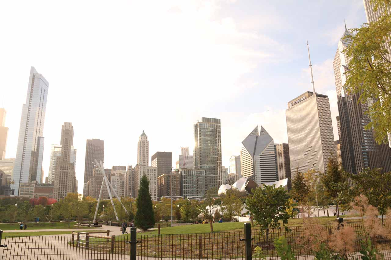 Context of the Chicago Skyline from Maggie C Daley Park