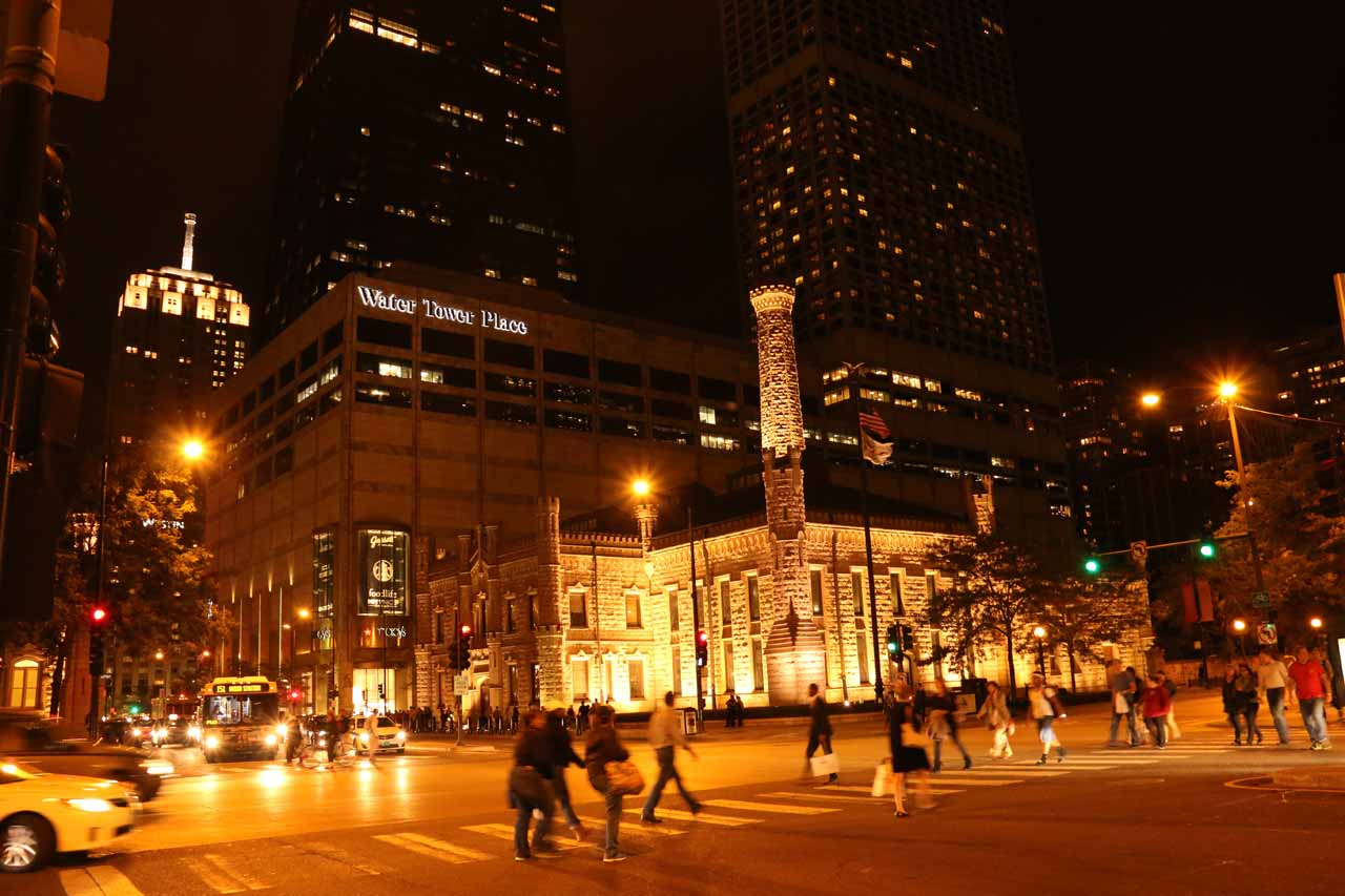 Night view across Michigan Ave towards the castle-like Chicago Water Works building