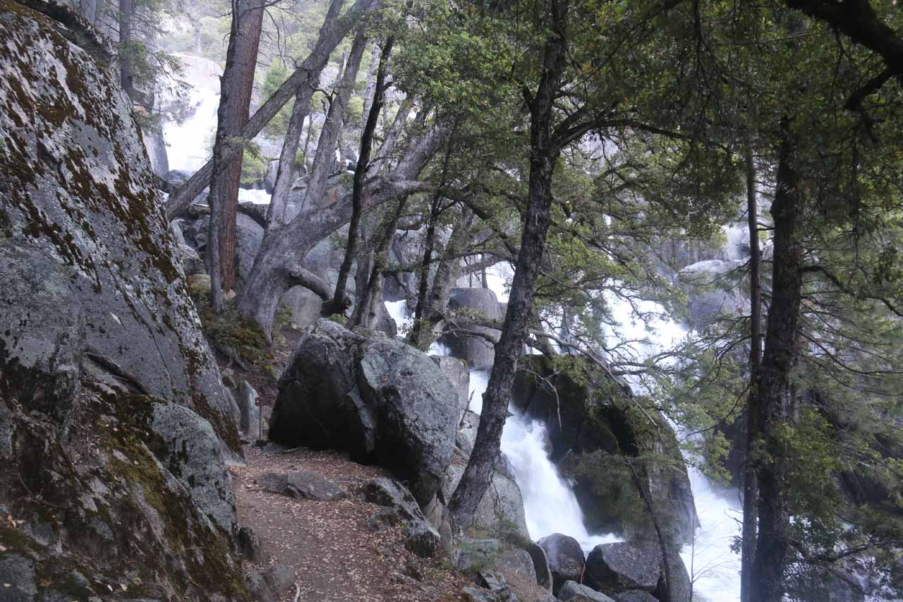 There were still more waterfalls further upstream from the first Chilnualna Falls, but getting closer to those would require risky and unsanctioned scrambling
