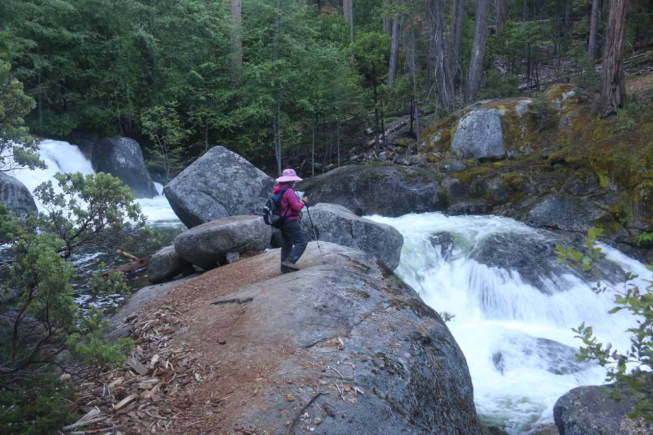 Mom taking a brief break to check out the second Chilnualna Falls