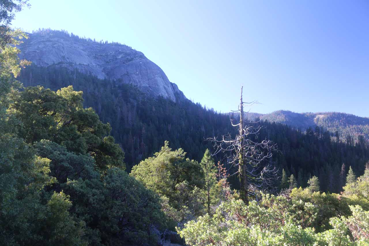 Looking towards Wawona Dome just as the sun had risen above the cliffs and the temperatures were also starting to climb