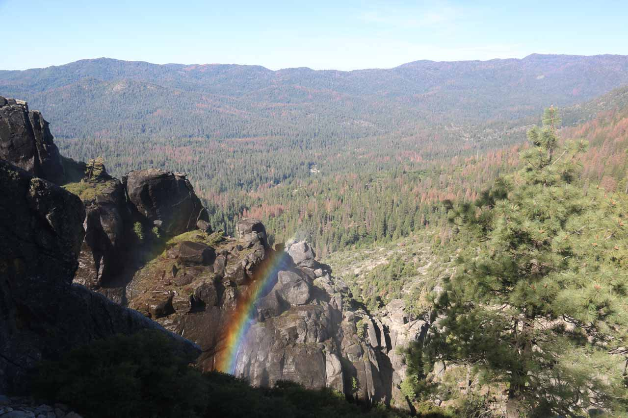 Early morning rainbow in the mist of the fourth Chilnualna Falls as we looked down in the direction of Wawona