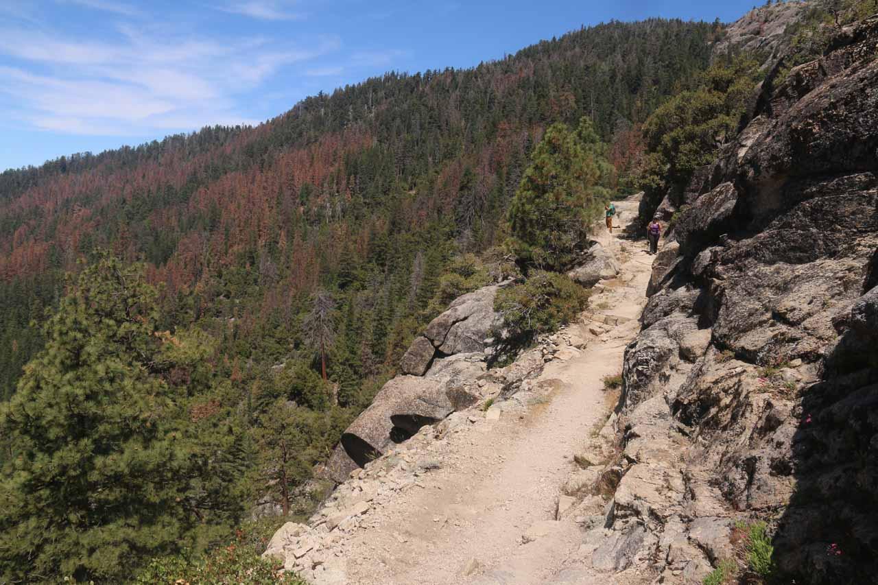 Descending the granite ledges as we were going past the fourth Chilnualna Falls