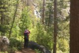 Chilnualna_Falls_17_339_06172017 - Mom looking between trees towards some hidden tiers of Chilnualna Falls beneath the 4th Chilnualna Falls