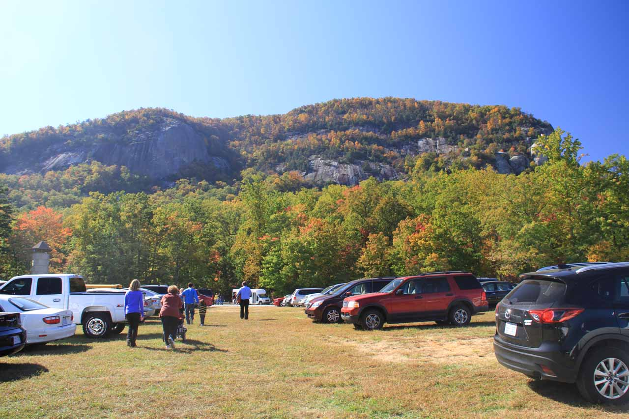 At a car park halfway up the ascent to Chimney Rock