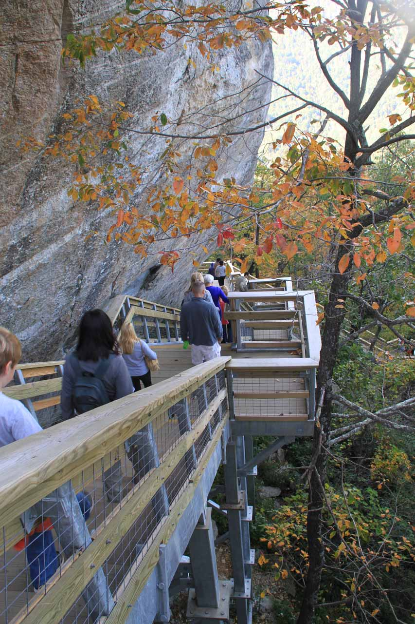 Looking down at the steps we took to get up to Chimney Rock