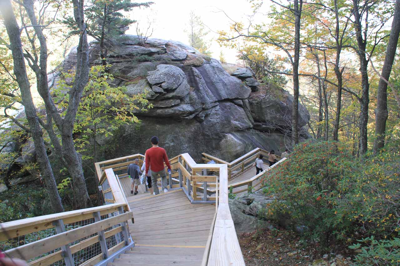 The stairs ascending to Chimney Rock
