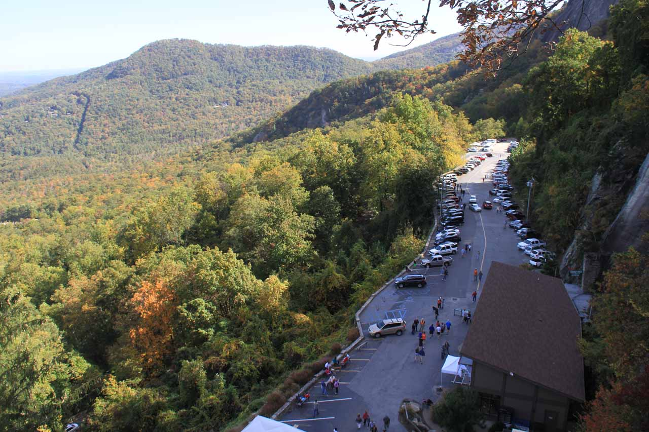 Looking down at the main car park from an overlook on the way up to Chimney Rock