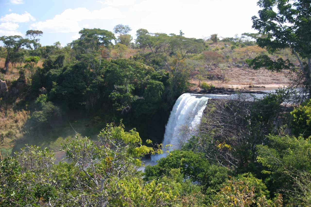 Distant view of the main Chishimba Falls from the gazeebo-like shelter