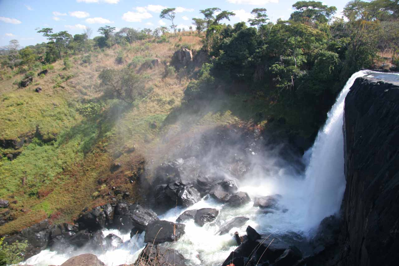 Profile view of the main Chishimba Falls as seen from the trail