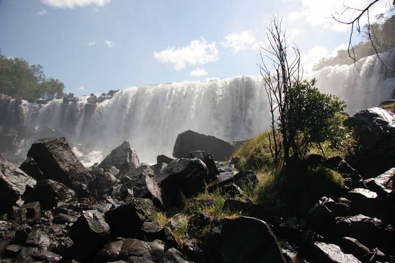 The base of the uppermost of the Chishimba Falls