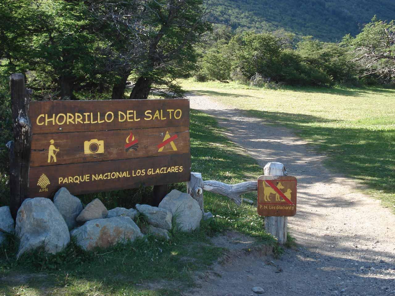 Finally at the trailhead for Chorrillo del Salto