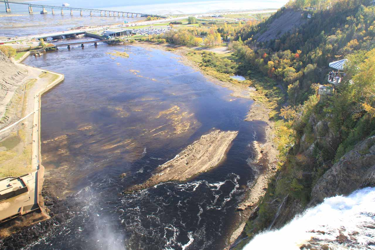 Looking downstream over the brink of Chute Montmorency from the suspension bridge