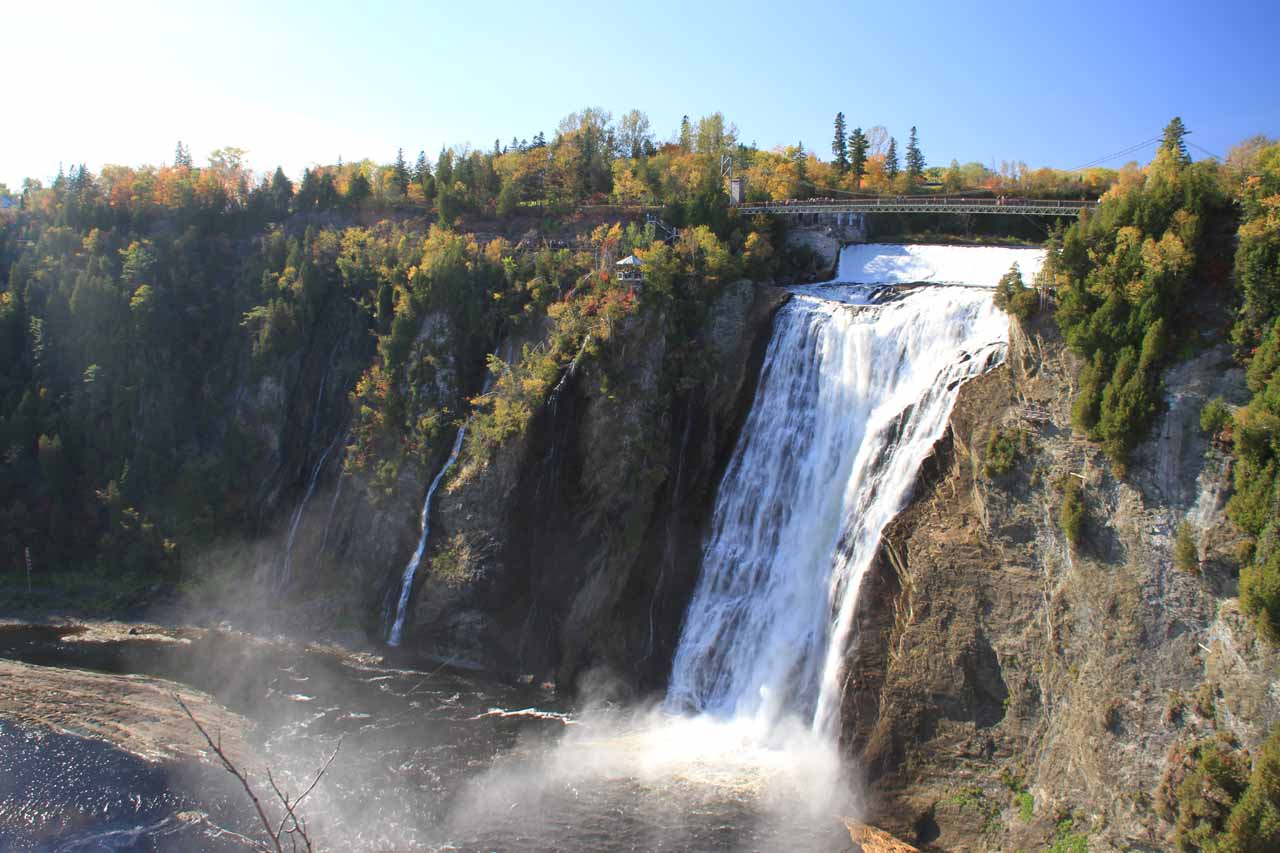 Angled view of Chute Montmorency from the top of the Panoramic Stairs