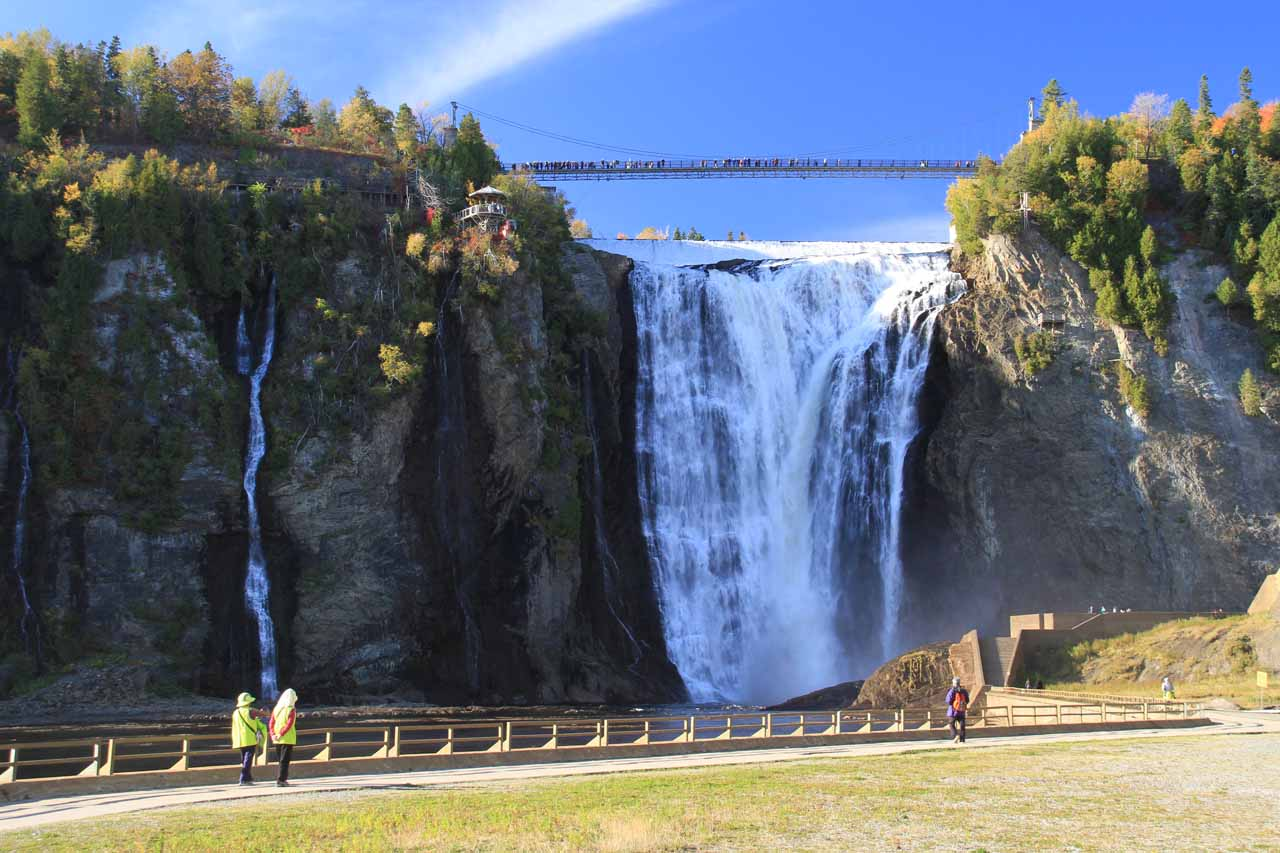 Looking back at Chute Montmorency as we walked further downstream along the concrete walkway