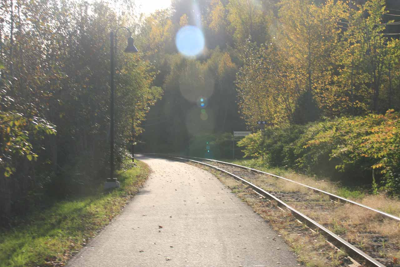 Walking along the railroad tracks on the way to Bridal Veil Falls