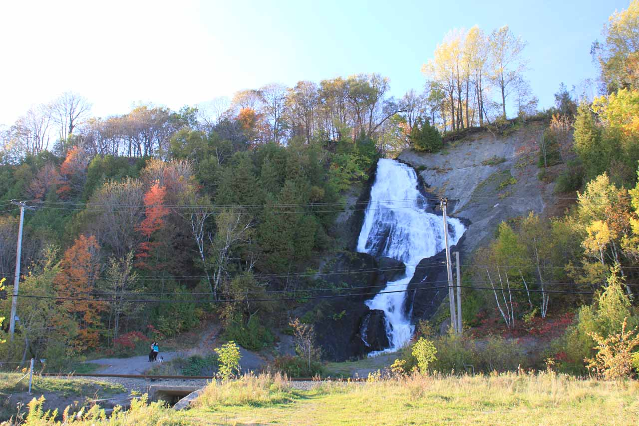 Bridal Veil Falls with power lines cutting across it